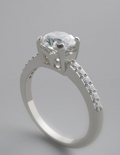 FEMININE CONTEMPORARY SOLITAIRE DIAMOND ACCENT RING SETTINGS