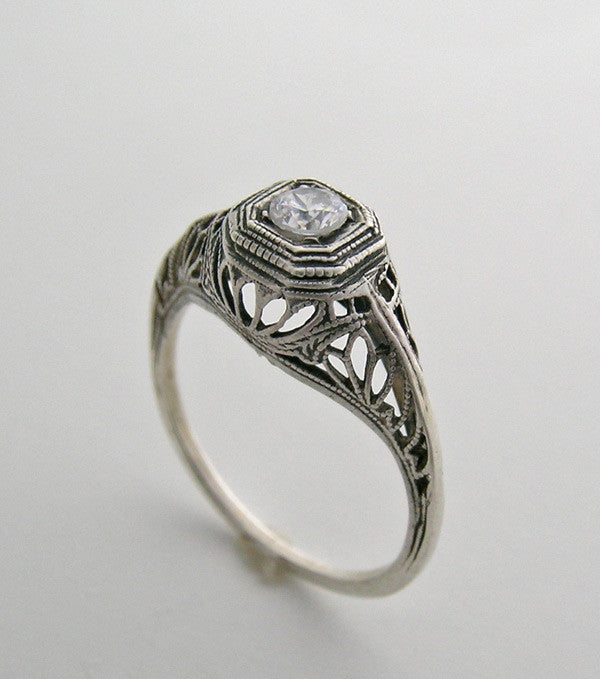 OLD WORLD RING SETTING ANTIQUE STYLE FEMININE FILIGREE DESIGN