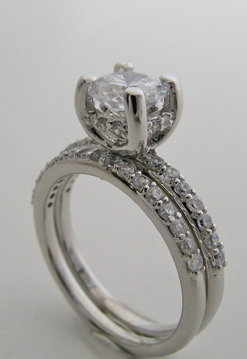 14K White Gold Diamond engagement ring settings sets for a round shape diamond