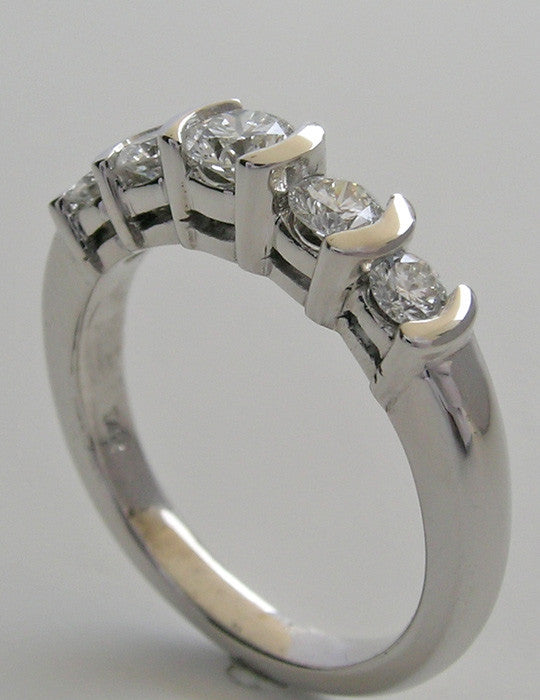 Platinum 5 Stone Diamond Wedding Band