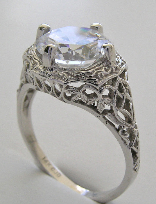 GOLD VINTAGE STYLE FILIGREE RING SETTING  9.5 MM STONE