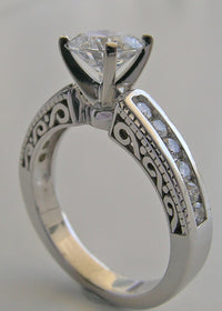 PRETTY DIAMOND DETAIL ACCENT ENGAGEMENT RING SETTING WITH PIERCED WORK