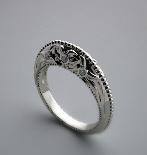 DESIGNER BRIDAL WEDDING RING BAND FLORAL AND DIAMOND DETAILS