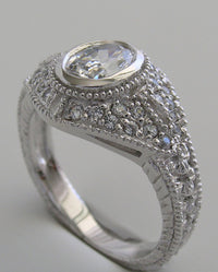 OVAL SHAPEANTIQUE STYLE MIL GRAINED  DIAMOND ENGAGEMENT RING SETTING
