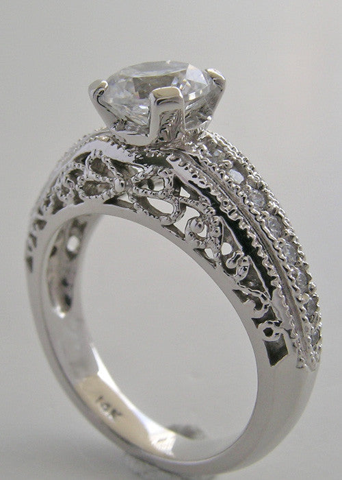GOLD ANTIQUE DECO STYLE RING SETTING WITH FILIGREE DIAMOND ACCENTS
