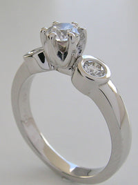 ELEGANT BEZEL AND PRONG SET THREE STONE DIAMOND RING SETTING
