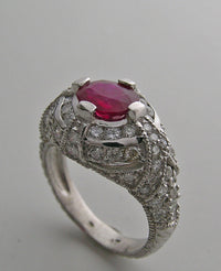 PLATINUM IMPORTANT ART DECO STYLE GENUINE RUBY 1.12 CT DIAMOND RING