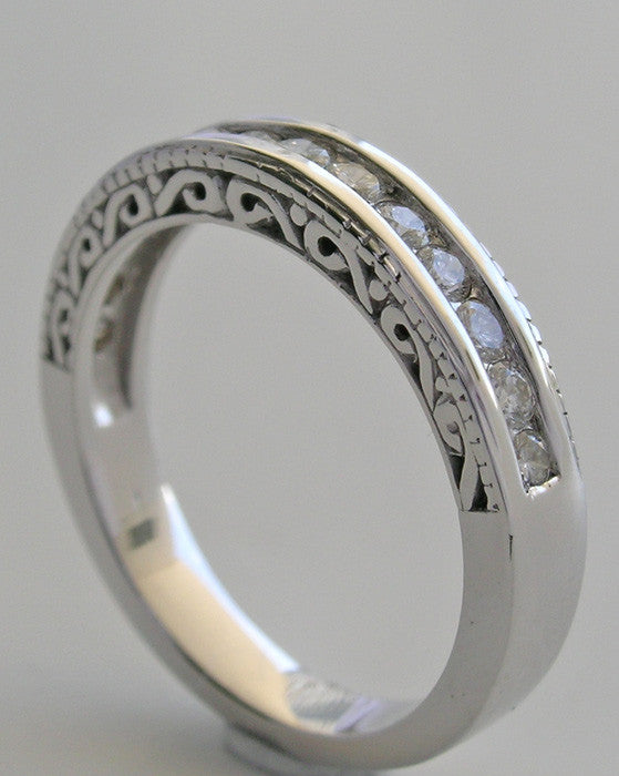 GOLD DIAMOND ETERNITY WEDDING RING BAND WITH PIERCED DETAILS