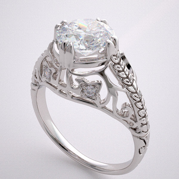 GOLD ART DECO ENGAGEMENT RING FILIGREE DIAMOND ACCENT DESIGN
