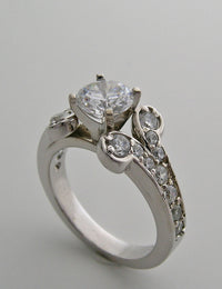 SPECIAL ART DECO STYLE DIAMOND DETAILED RING SETTING SHOWN WITH ROUND HEAD SETTING