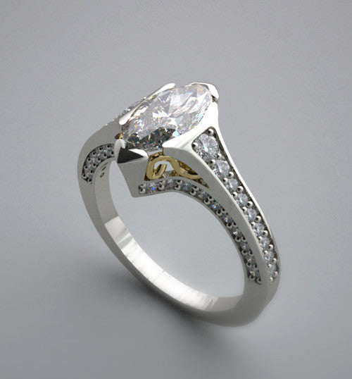 MARQUISE NORTH TO SOUTH ENGAGEMENT RING SETTING OR REMOUNT MOUNTING