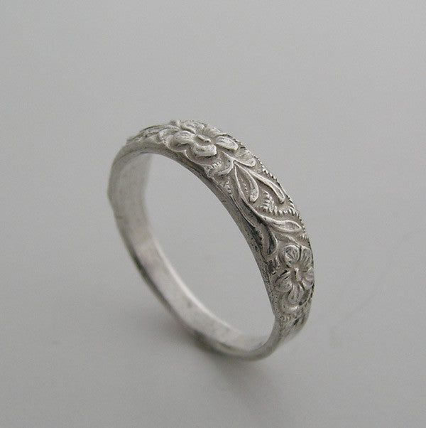 White Gold Floral Stackable Ring