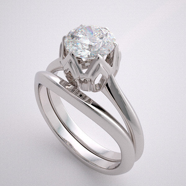 ELEGANT SOLITAIRE ENGAGEMENT RING SETTING SET WITHOUT STONES