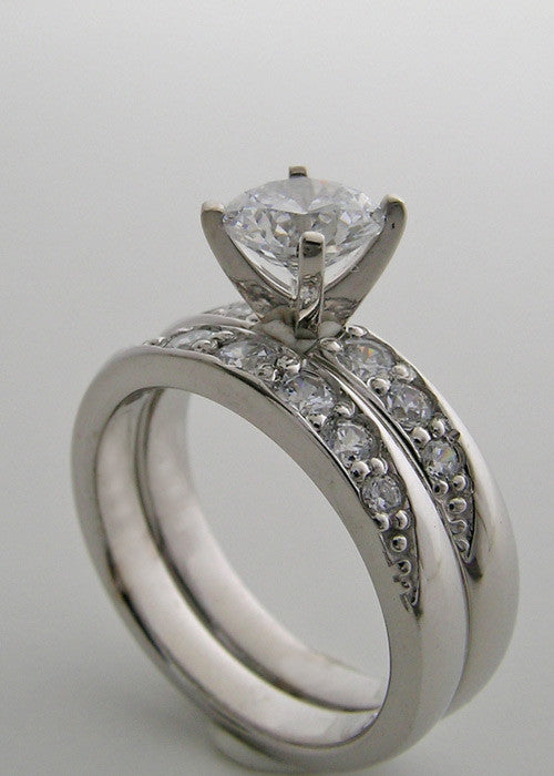 14K White Gold Diamond Engagement ring setting set
