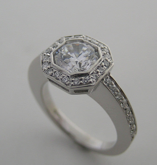 UNUSUAL ANTIQUE STYLE OCTOGNAL  HALO DESIGN DIAMOND RING SETTING