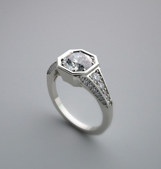 TRADITIONAL ART DECO ANTIQUE STYLE DIAMOND ACCENTED RING SETTING