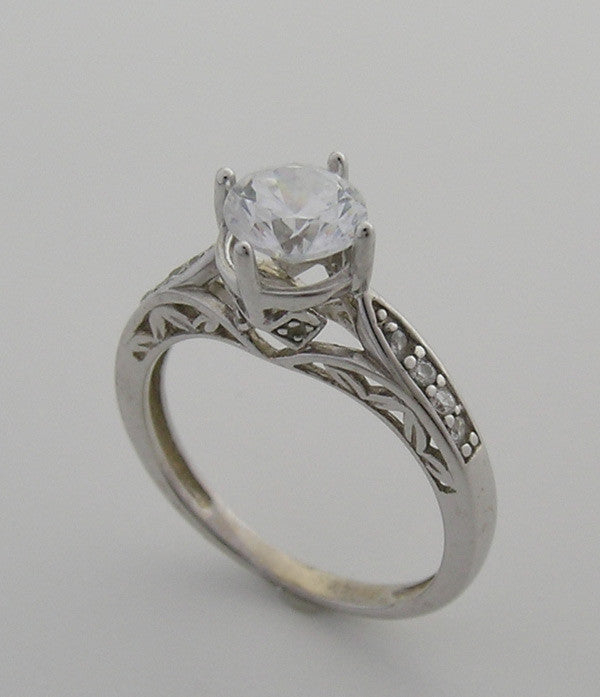 VINTAGE STYLE ENGAGEMENT RING SETTING FEMININE DIAMOND DETAILS