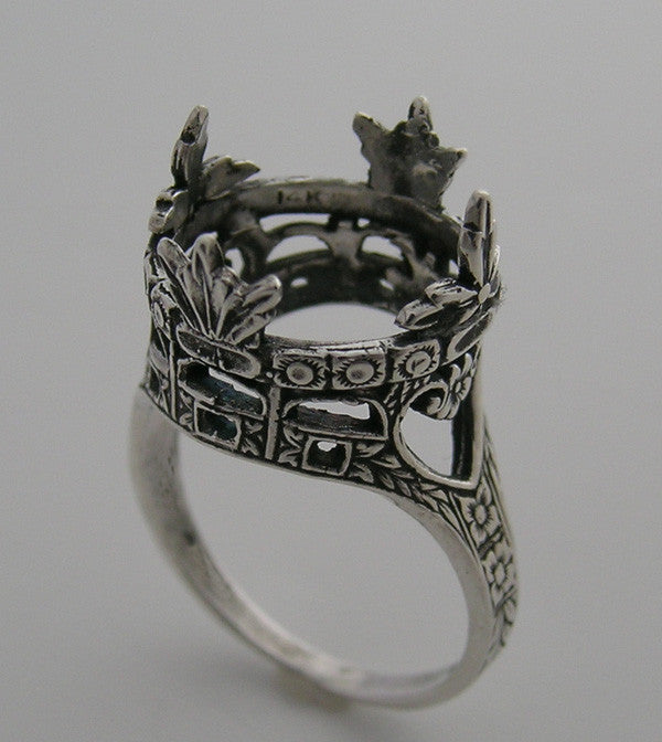 LARGE FEMININE 14K GOLD FILIGREE ANTIQUE STYLE CROWN RING SETTING