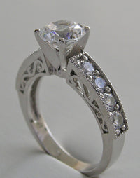 GOLD OR PLATINUM CLASSIC DIAMOND ACCENTED ENGAGEMENT RING SETTING