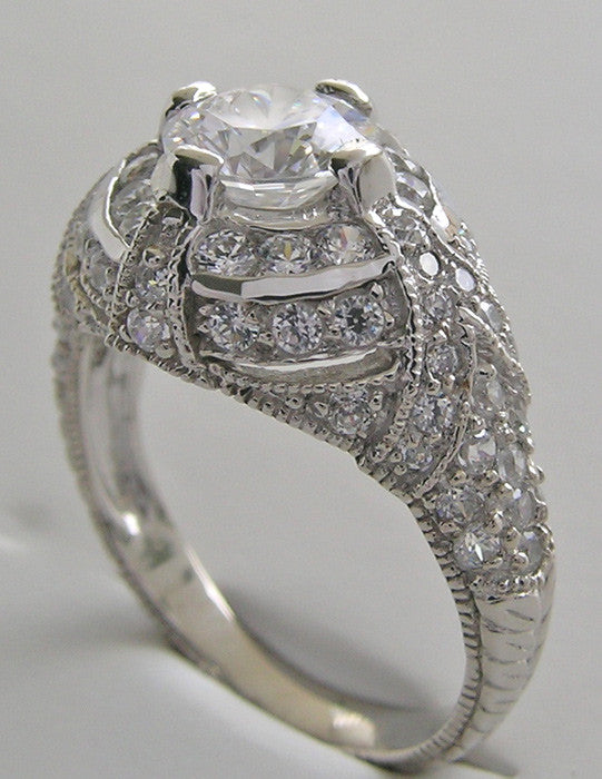 ENGAGEMENT RING SETTING OR REMOUNT RING ART DECO STYLE PAVE DIAMOND DETAILS