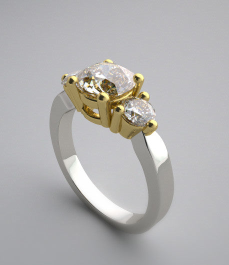 14K Two Tone Gold Diamond Three Stone Ring Setting for a 1.25 Carat round diamond