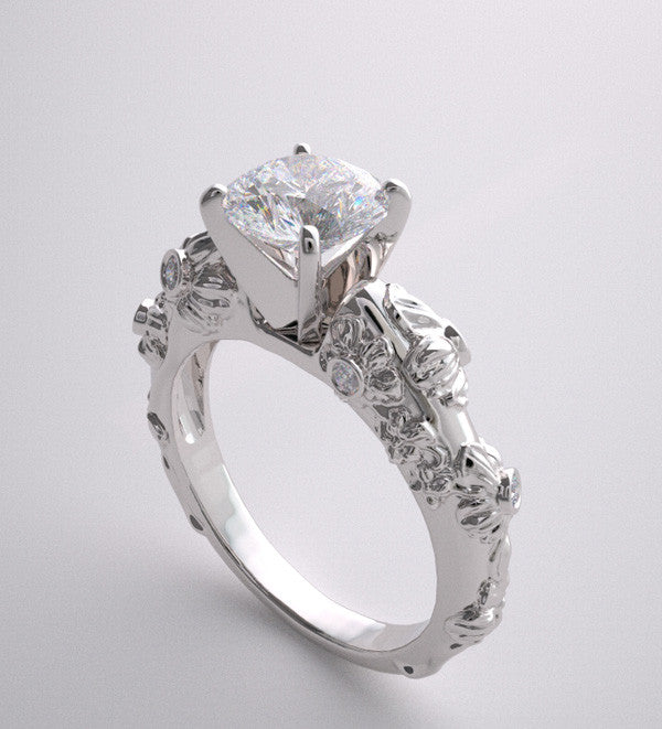 ENGAGEMENT RING SETTING  GOLD ART NOUVEAU STYLE