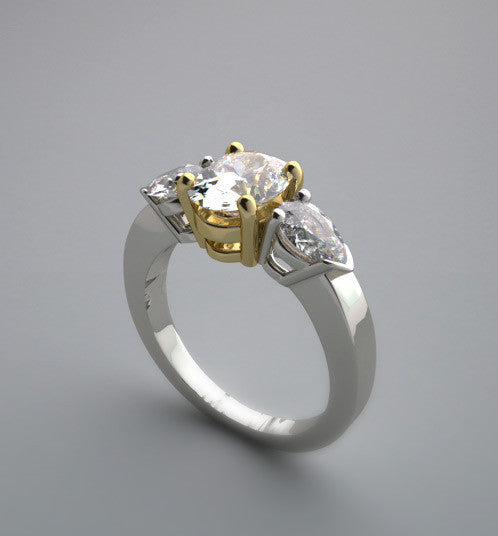 OUTSTANDING AND GRACEFUL THREE STONE ENGAGEMENT RING SETTING