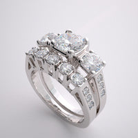 IMPORTANT DIAMOND ACCENT ENGAGEMENT RING BRIDAL WEDDING BAND SET