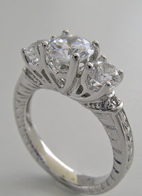 THREE STONE DIAMOND ACCENT ENGRAVED RING SETTING