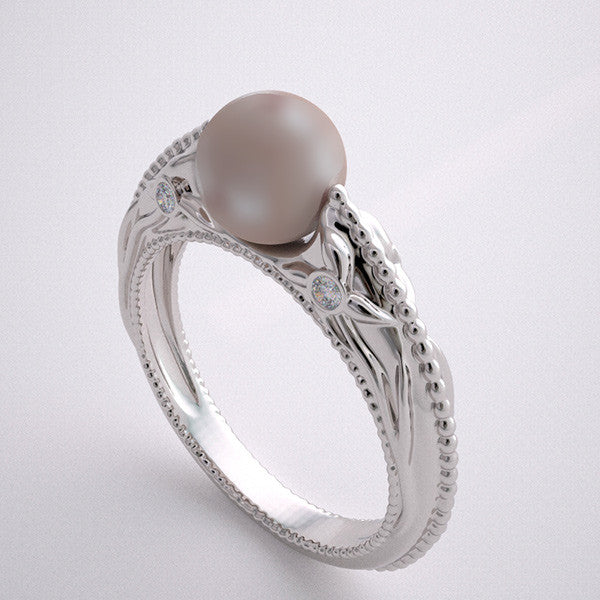 FEMININE CULTURED PEARL ENGAGEMENT RING WITH FLORAL DIAMOND ACCENTS