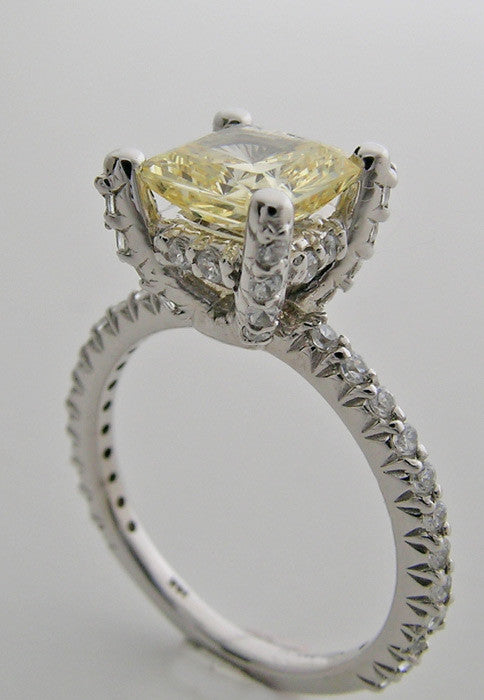 Gold Diamond Studded Ring Setting For Princess Shape
