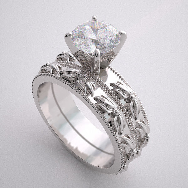 Platinum wedding Ring setting Set