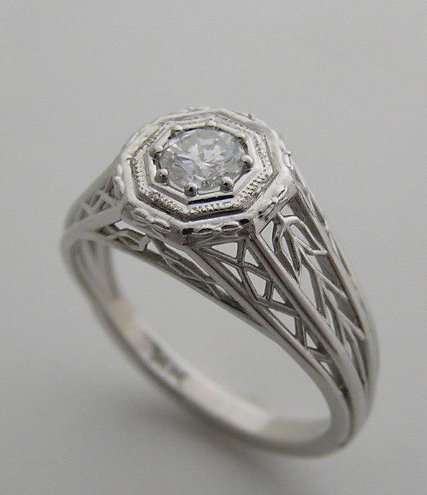 FILIGREE DESIGN ART DECO ANTIQUE STYLE RING SETTING FOR ROUND STONES
