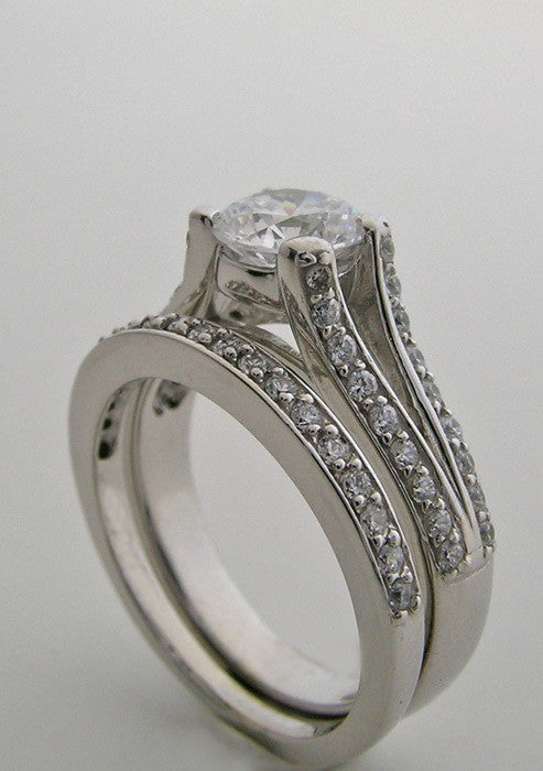 PAVE DIAMOND SPLIT SHANK BRIDAL WEDDING RING SETTING SET