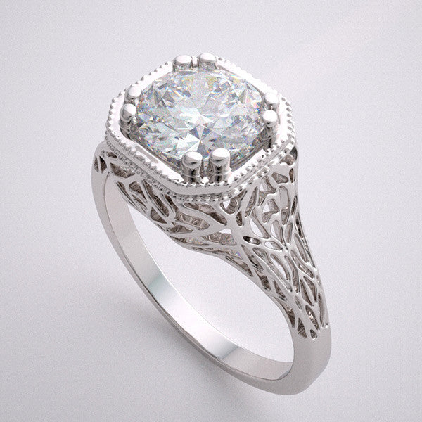 14K ART DECO FILIGREE ENGAGEMENT RING SETTING