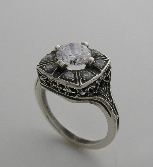 White Gold Antique Ring Setting With Diamond  Accents