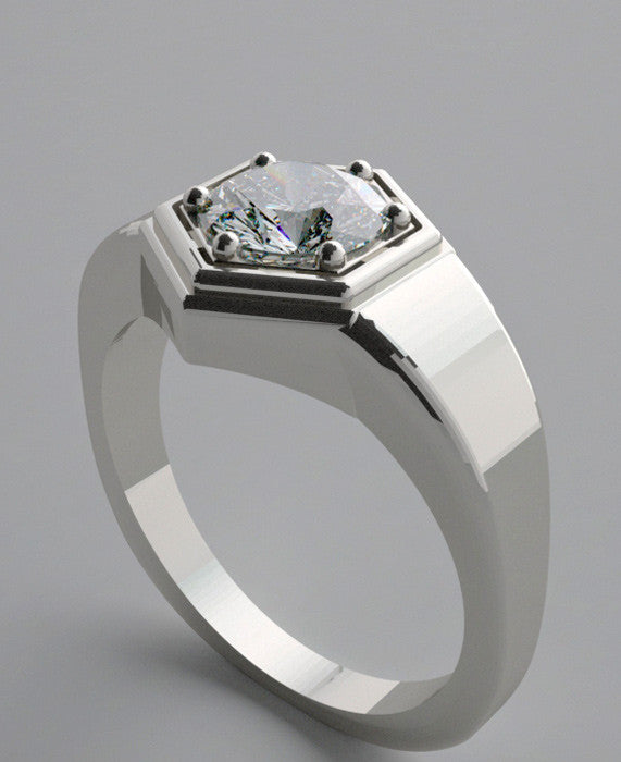 HEXAGONAL SOLITAIRE ENGAGEMENT RING SETTING UNISEX