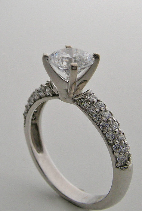 Gold Diamond Pave Engagement Ring Setting