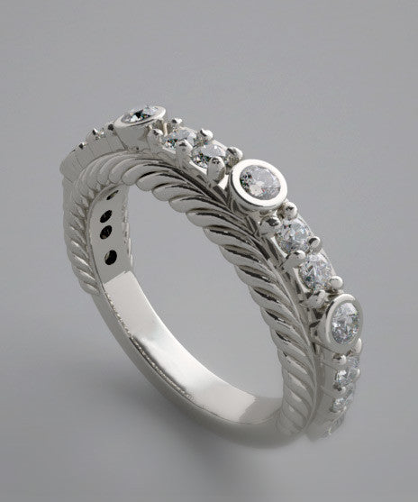 DIAMOND WEDDING BAND RING WITH FEMININE ACCENTS