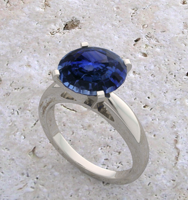 LOVELY 14K WHITE GOLD GENUINE NATURAL SAPPHIRE RING