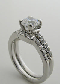 DIAMOND WEDDING RING SETTING SET CHARMING DETAILED ACCENTS