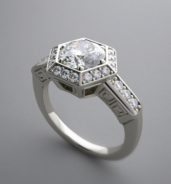 HEXAGONAL DESIGN  SHAPE DIAMOND PAVE HALO RING SETTING
