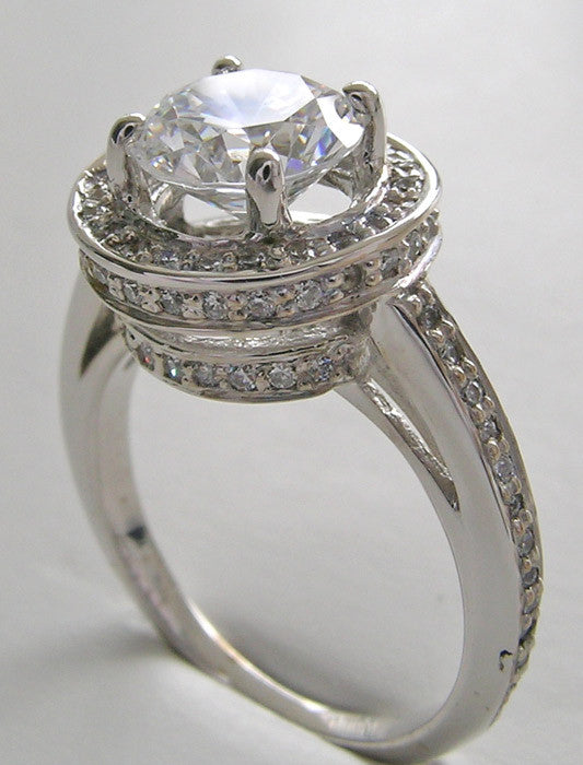 STYLISH FEMININE DIAMOND HALO  ENGAGEMENT RING SETTING