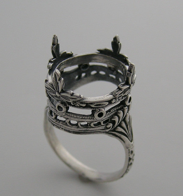FEMININE 14K CROWN DESIGN ART DECO ANTIQUE STYLE FILIGREE RING SETTING