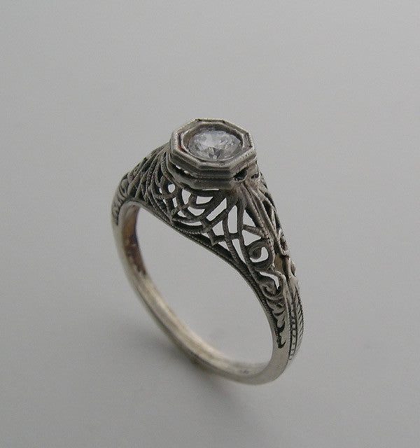 14K FILIGREE ANTIQUE STYLE RING SETTING