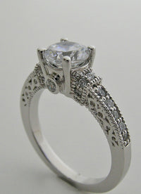 14K BEAUTIFUL ENGAGEMENT RING SETTING WITH  DIAMOND ACCENTS