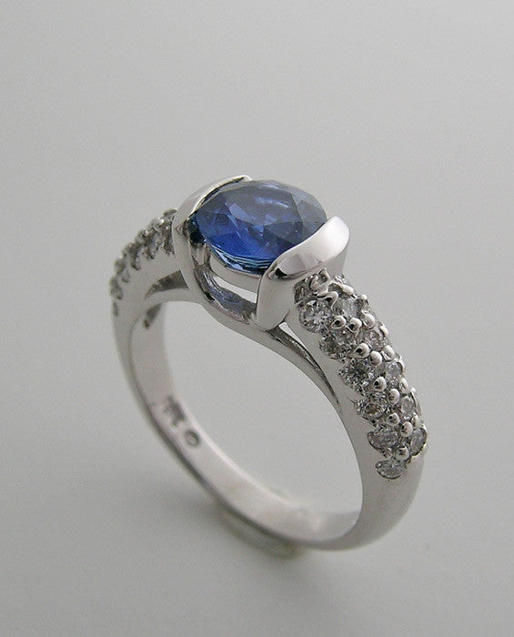 18K WHITE GOLD NATURAL BLUE SAPPHIRE 1.19 CT., ROUND DIAMOND ACCENTS