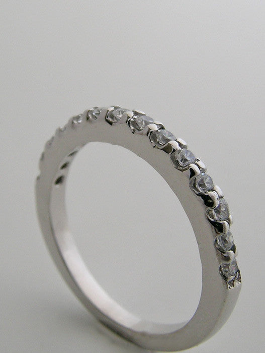 white Gold Anniversary Diamond Half Round Wedding Band Ring