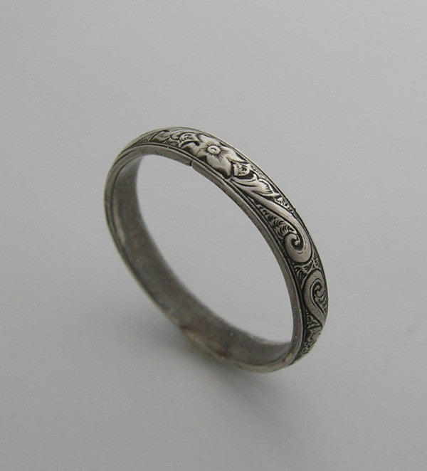 14K ANTIQUE VINTAGE ART DECO STYLE ENGRAVED WEDDING RING BAND