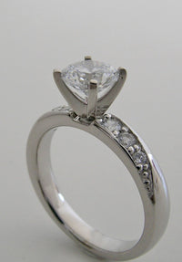 ENGAGEMENT RING SETTING WITH DIAMOND ACCENTS MID CENTURY STYLING